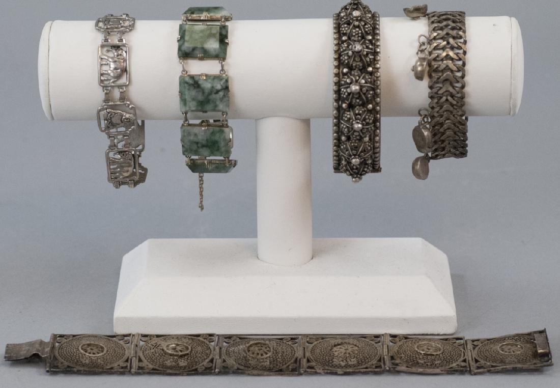 Five Antique & Vintage Sterling & Silver Bracelets