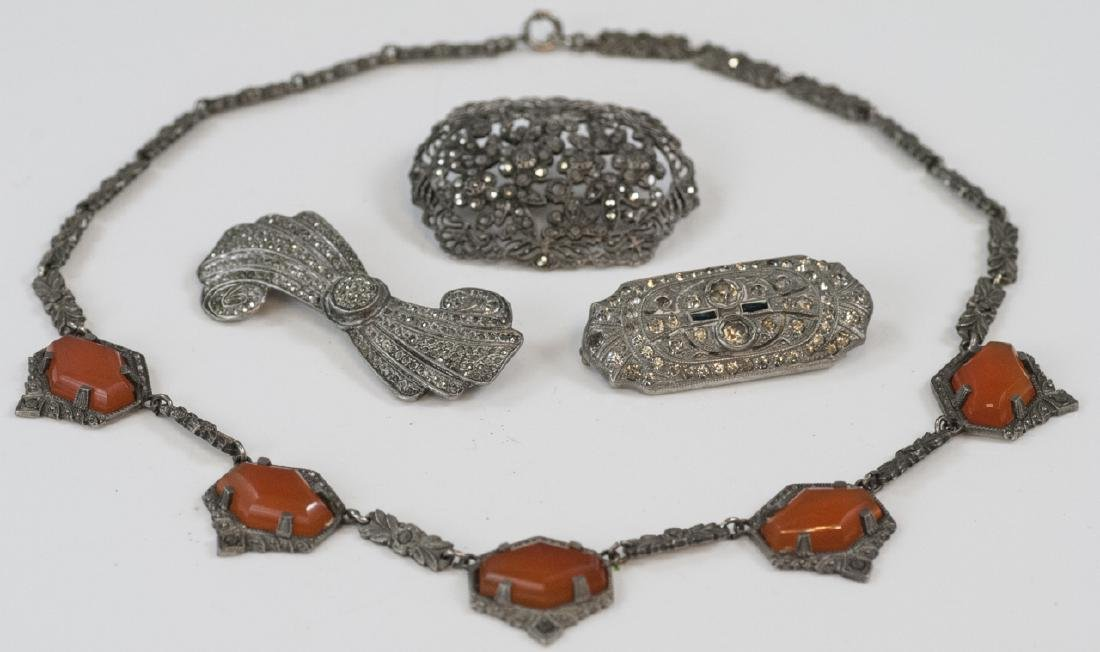 Antique Silver & Marcasite Necklace & Brooches