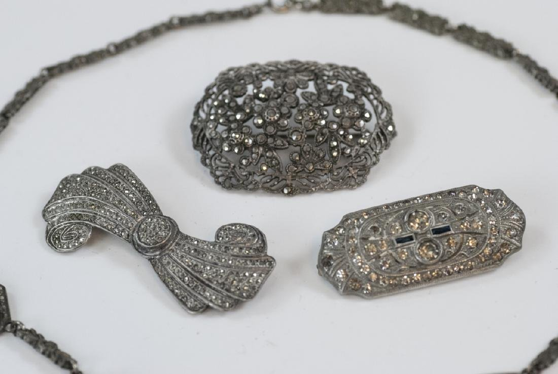 Antique Silver & Marcasite Necklace & Brooches - 2