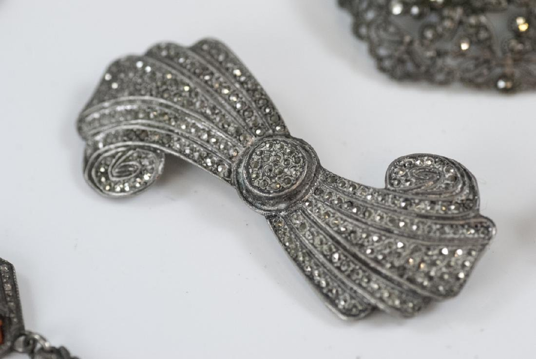 Antique Silver & Marcasite Necklace & Brooches - 5