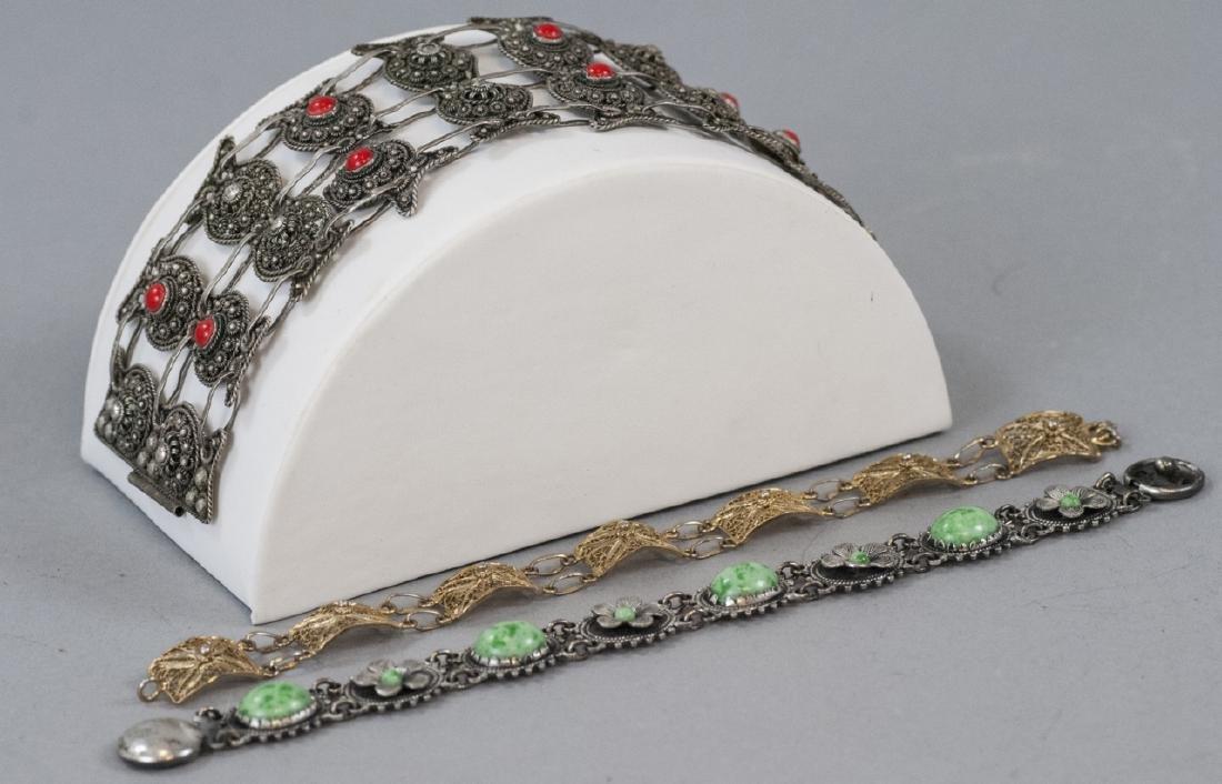 3 Vintage Filigree Bracelets - Silver & Vermeil