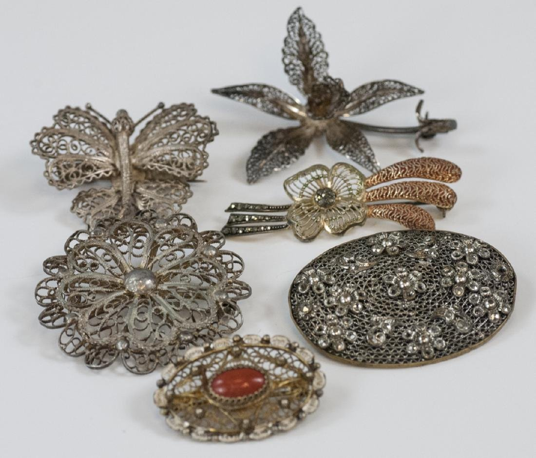 Six Vintage Silver & Gold Tone Filigree Brooches
