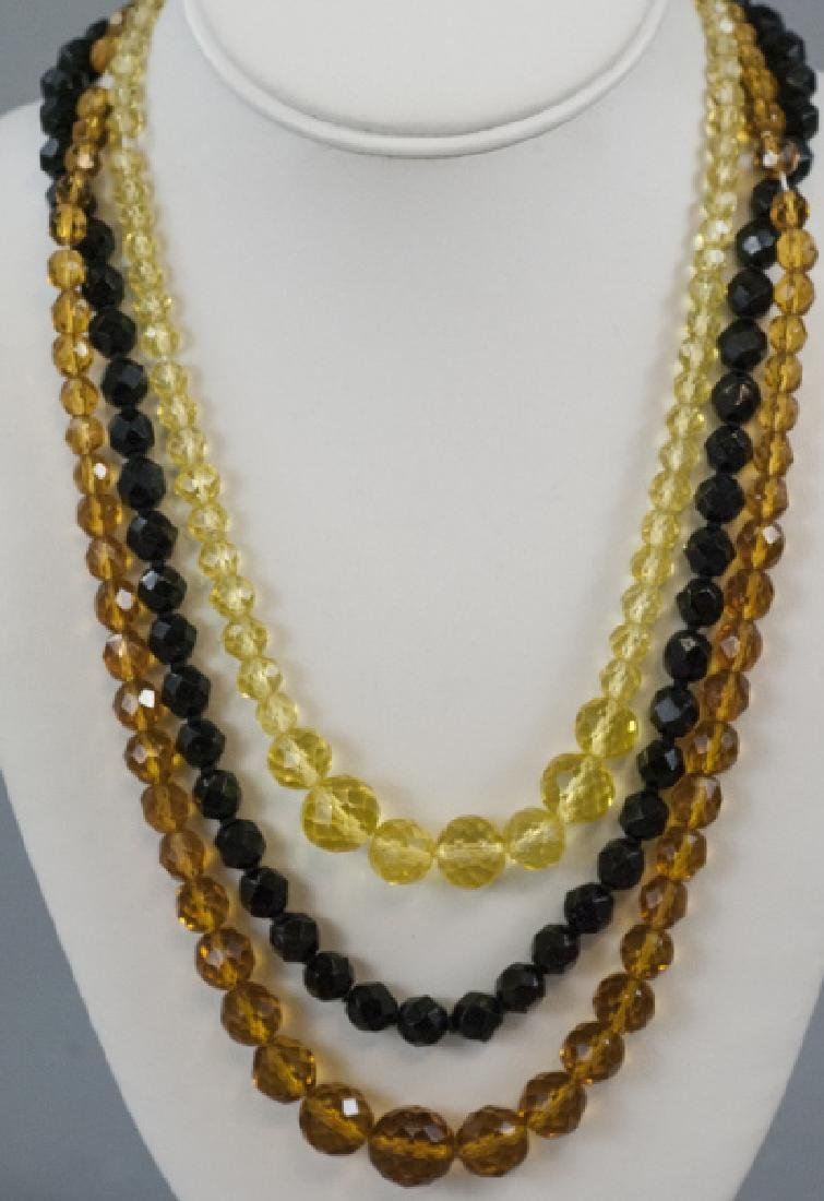 Three Antique Flapper Style Czech Crystal Necklace