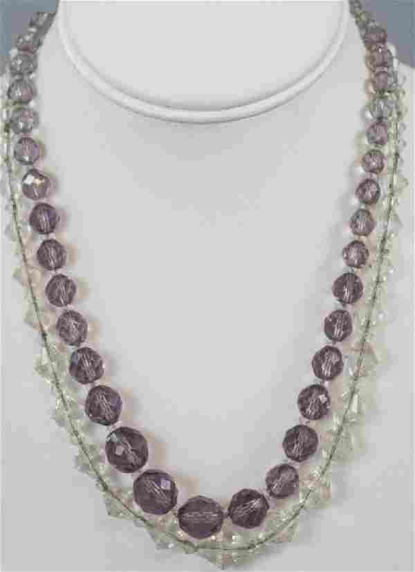 Two Antique Faceted Rock Crystal Necklace Strands