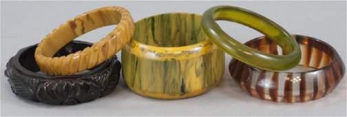 Group of Bakelite & Plastic Bangle Bracelets