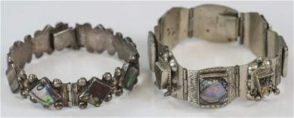 Two Mexico Sterling Silver & Shell Panel Bracelets