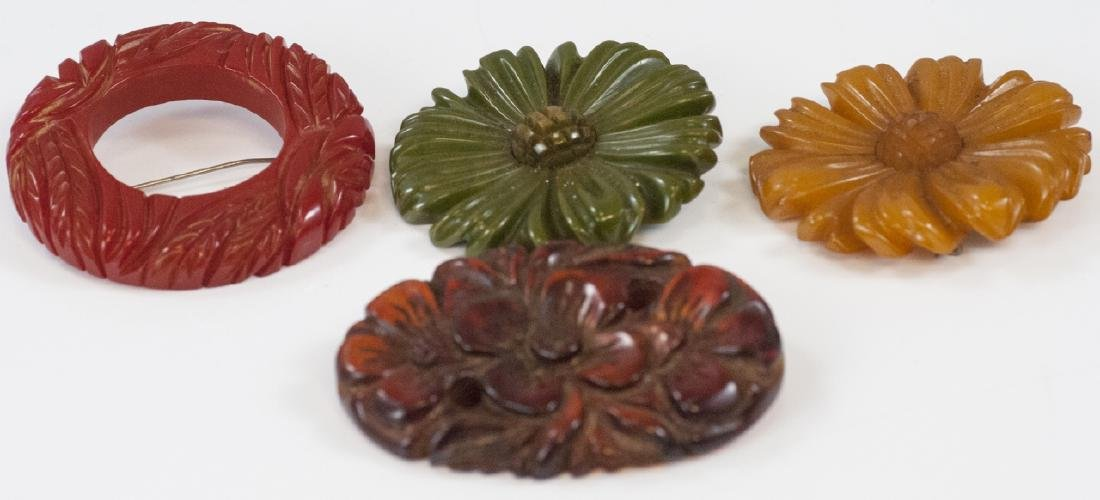 Four Vintage Carved Bakelite Brooches / Pins