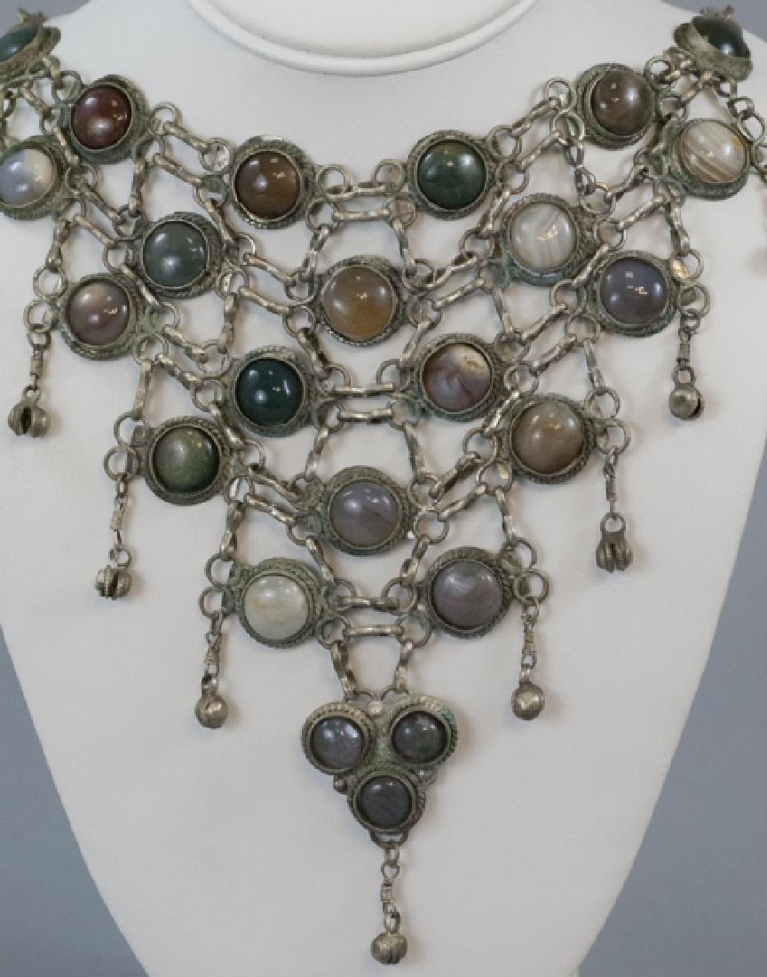 Vintage Cabochon Agate Statement Necklace