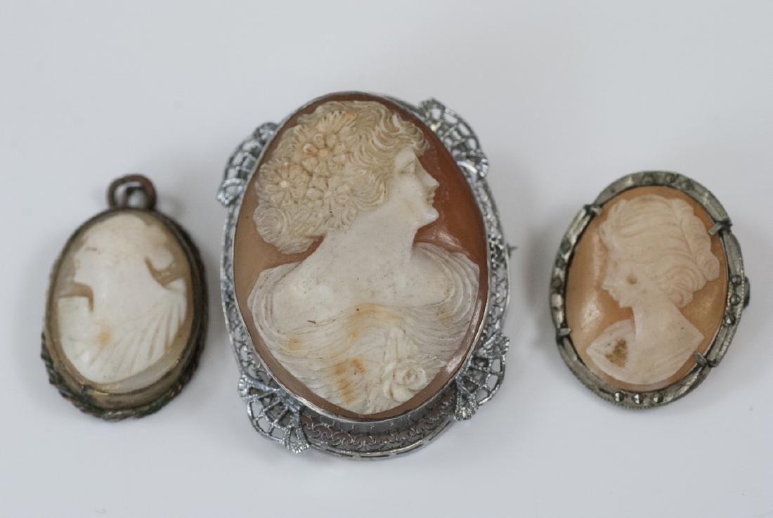 Three Antique / Vintage Natural Shell Cameos
