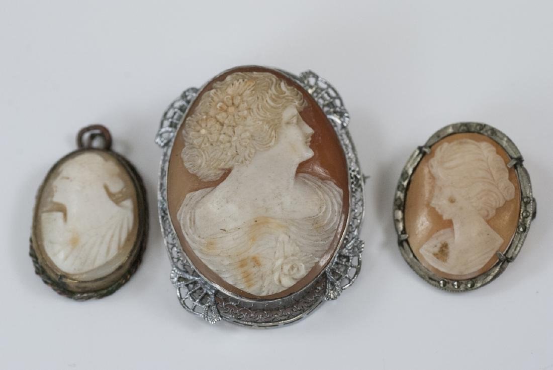 Three Antique / Vintage Natural Shell Cameos