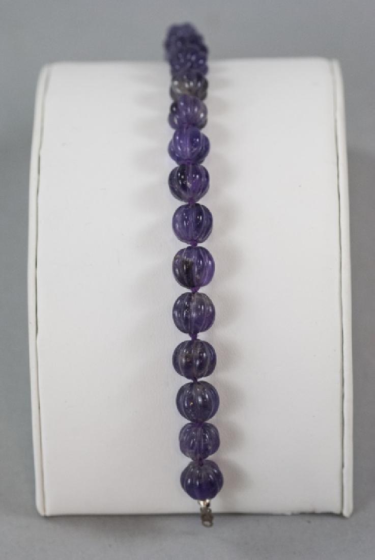 Antique Carved Amethyst Beaded Bracelet - 2