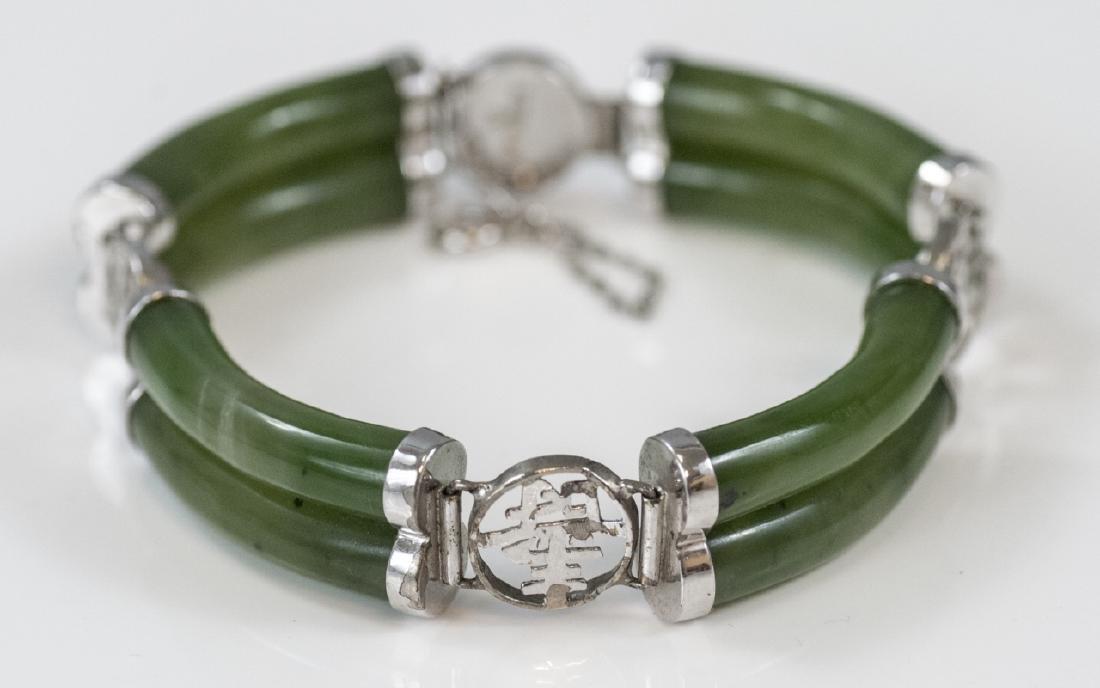 Chinese Sterling Silver & Carved Jade Bracelet