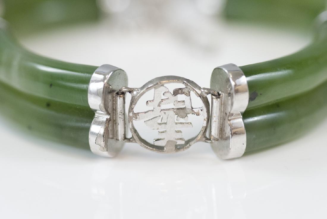 Chinese Sterling Silver & Carved Jade Bracelet - 4