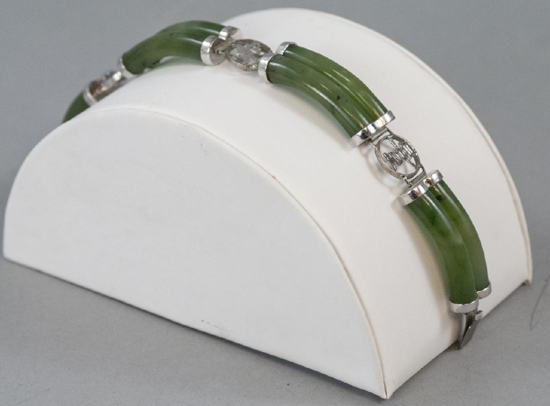 Chinese Sterling Silver & Carved Jade Bracelet - 5