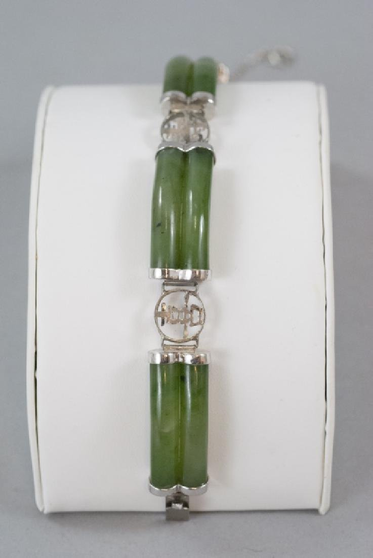Chinese Sterling Silver & Carved Jade Bracelet - 6