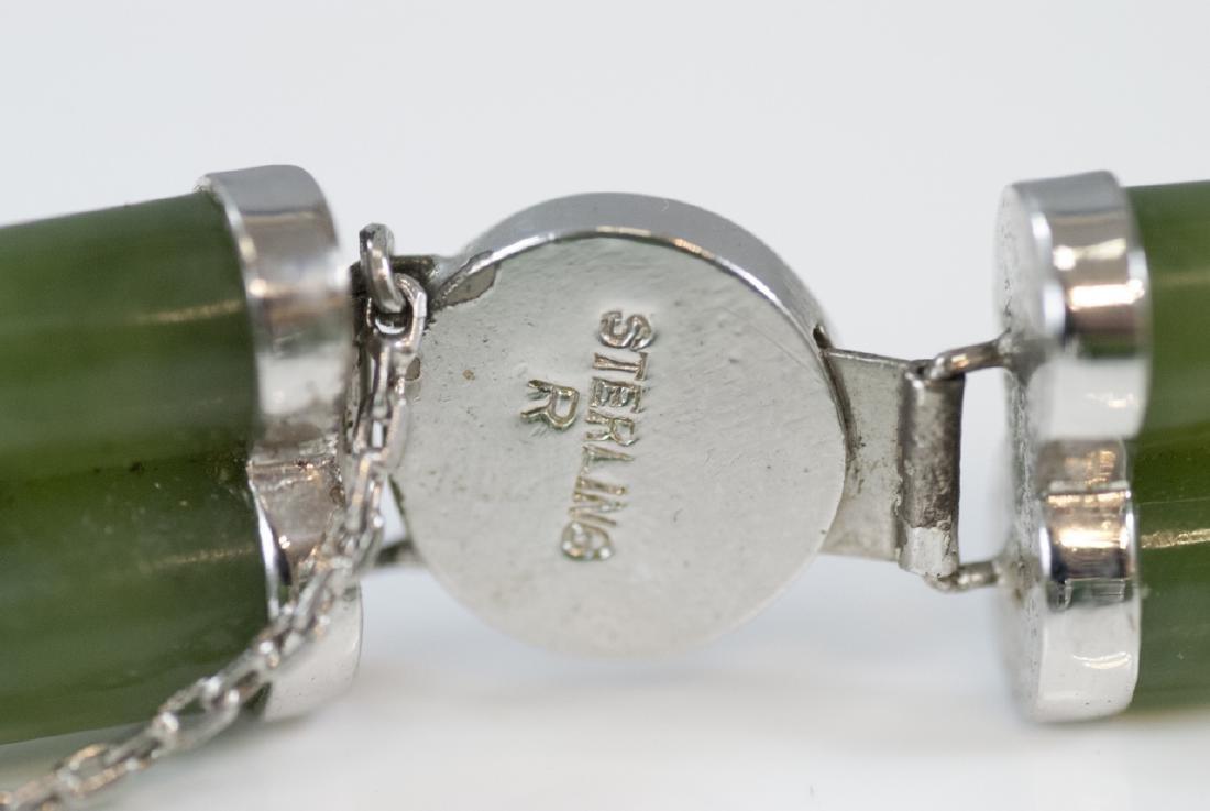 Chinese Sterling Silver & Carved Jade Bracelet - 7