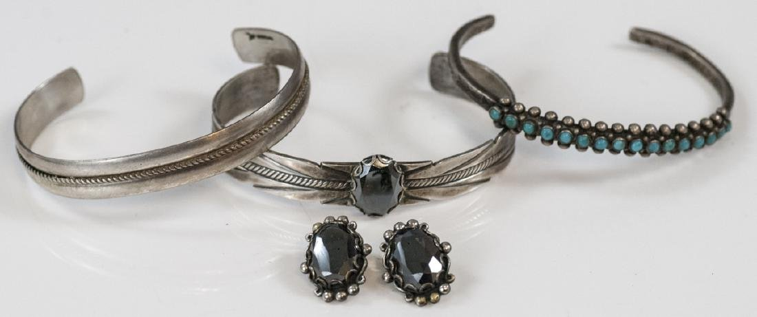 Three Sterling & Silver Cuff Bracelets w Earrings