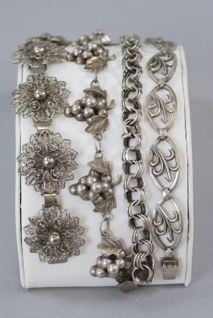 Four Vintage Sterling & Silver Tone Bracelets