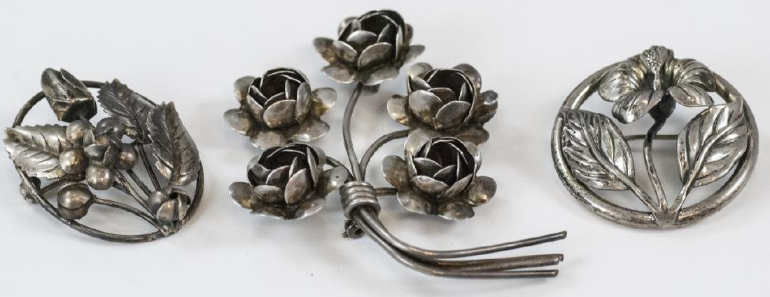 Three Vintage Figural Sterling Silver Brooches