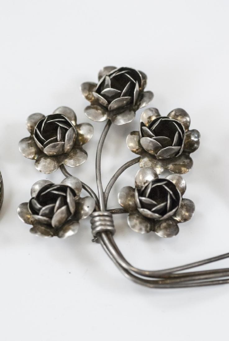 Three Vintage Figural Sterling Silver Brooches - 3