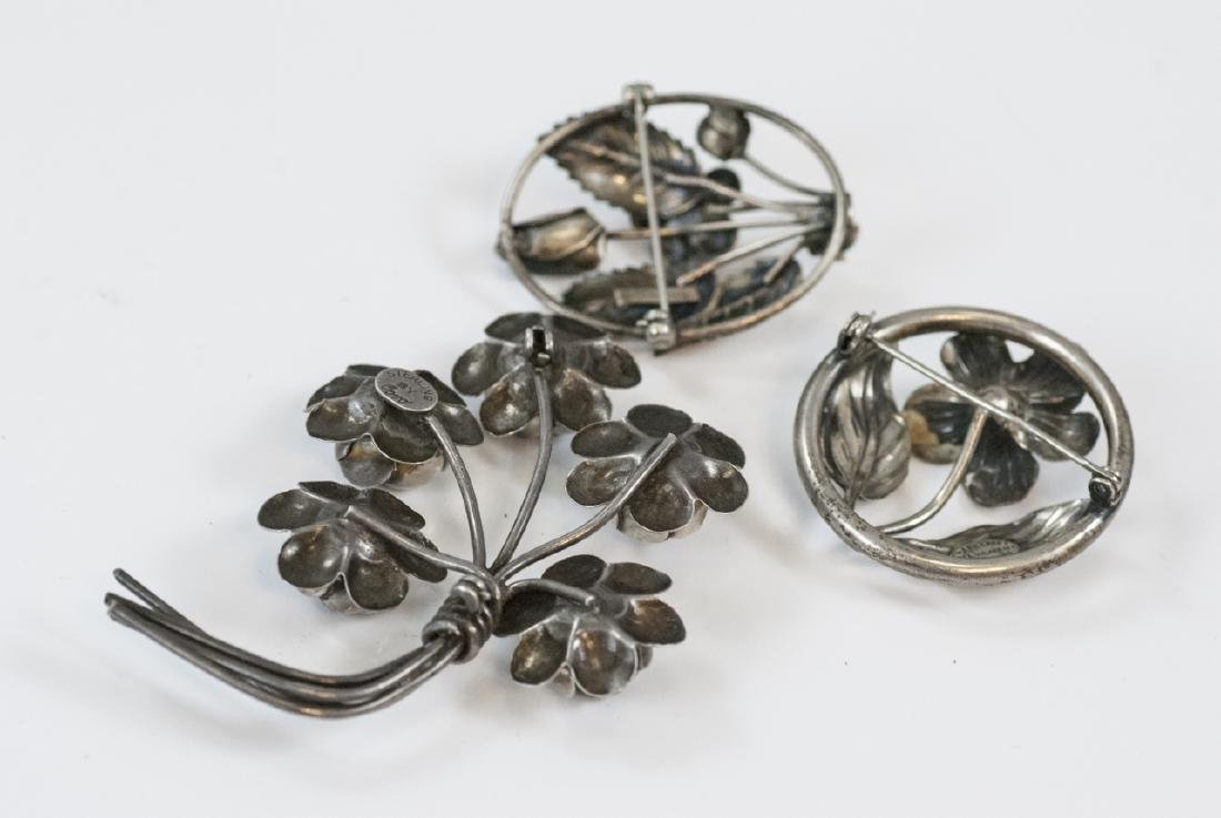 Three Vintage Figural Sterling Silver Brooches - 8