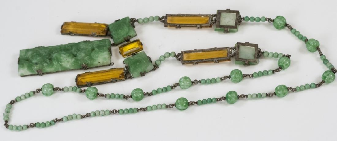 Antique Faux Jade Faux Citrine Statement Necklace