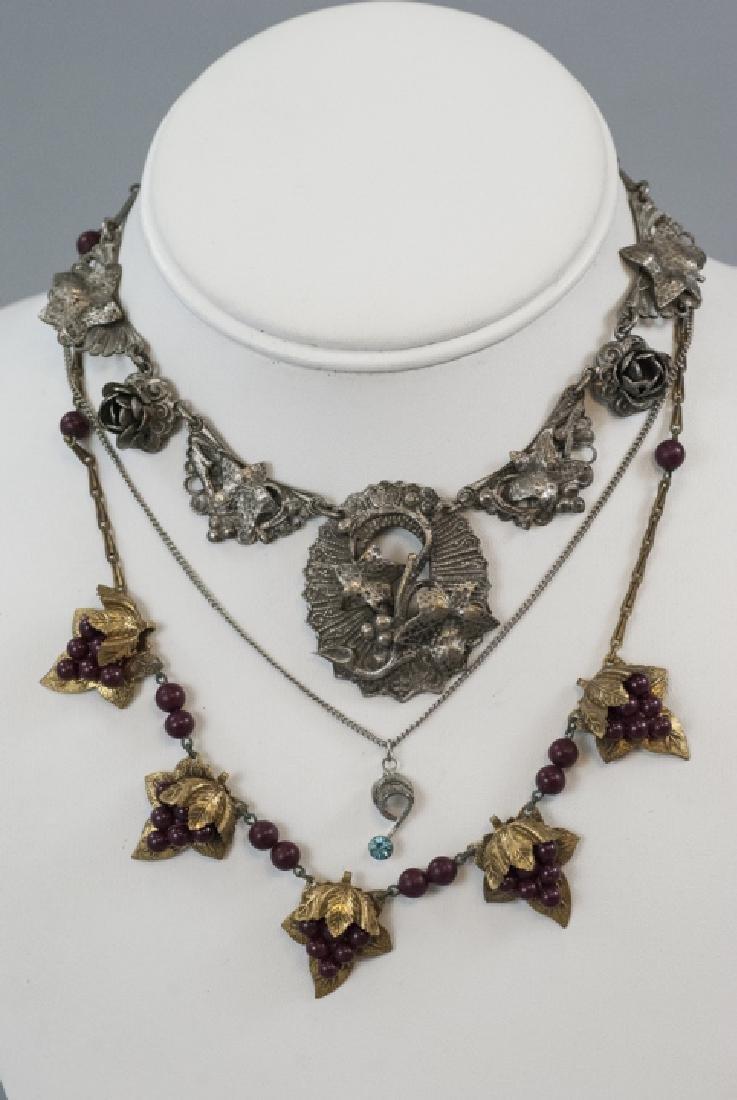 Four Antique & Vintage Costume Jewelry Necklaces - 6
