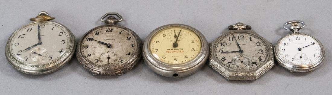Five Silver & Silver Plate Pocket Watches