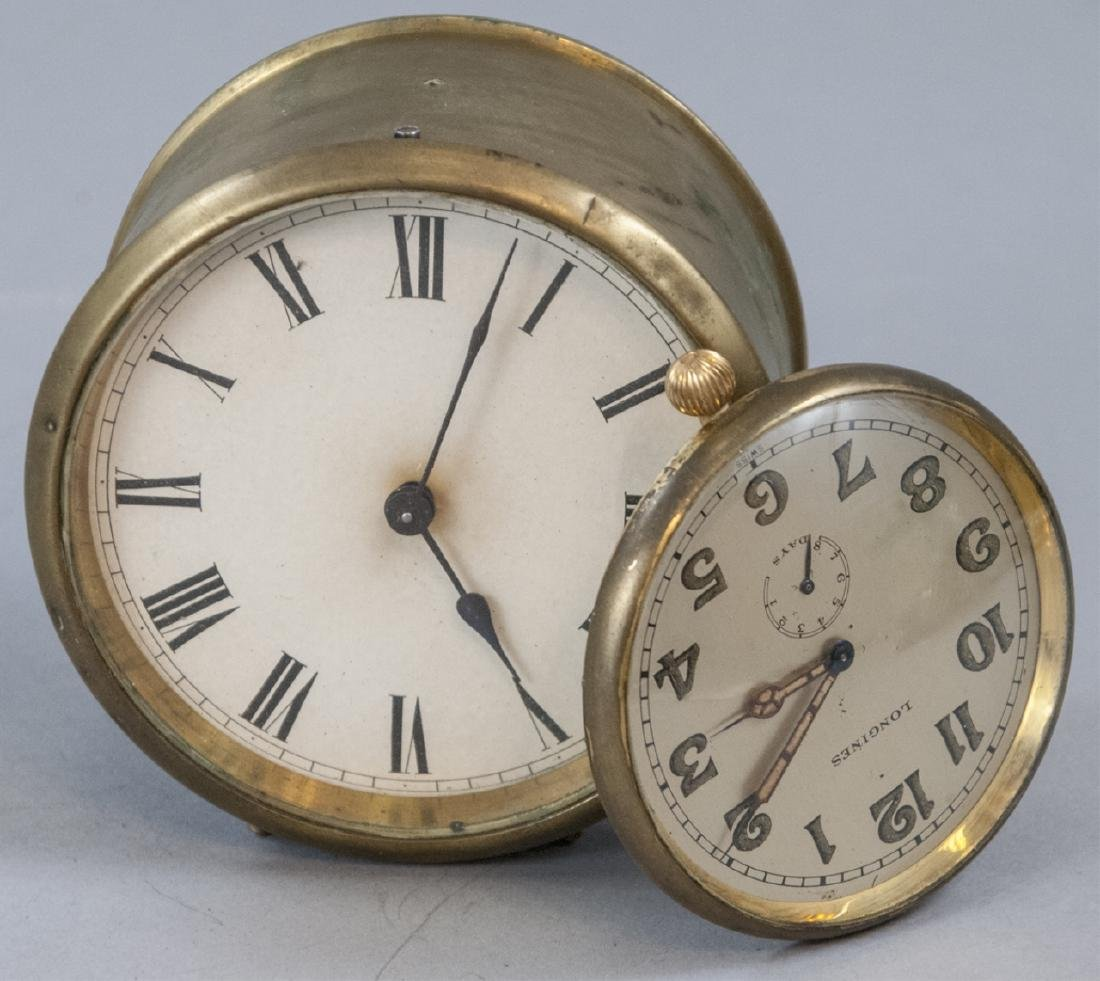 Two Vintage Brass Case Table Clocks