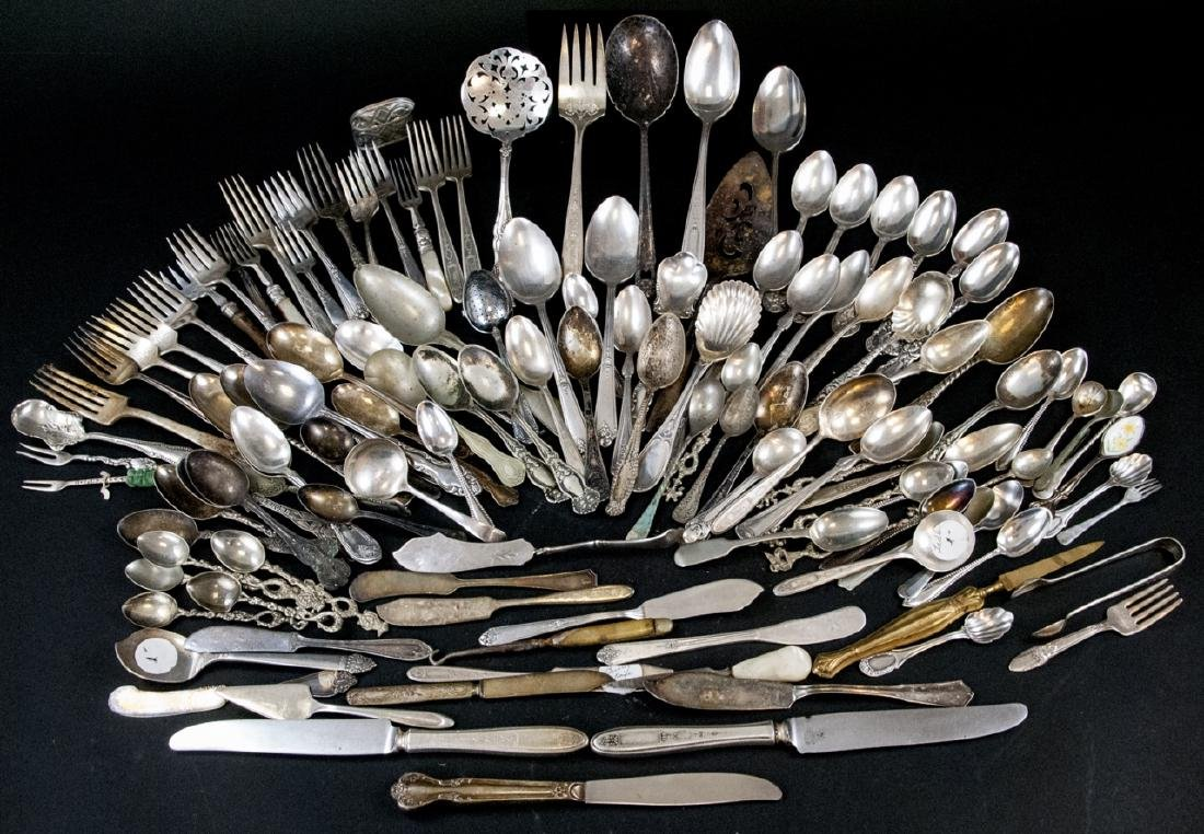 Antique & Vintage Silver Plate Serving & Flatware