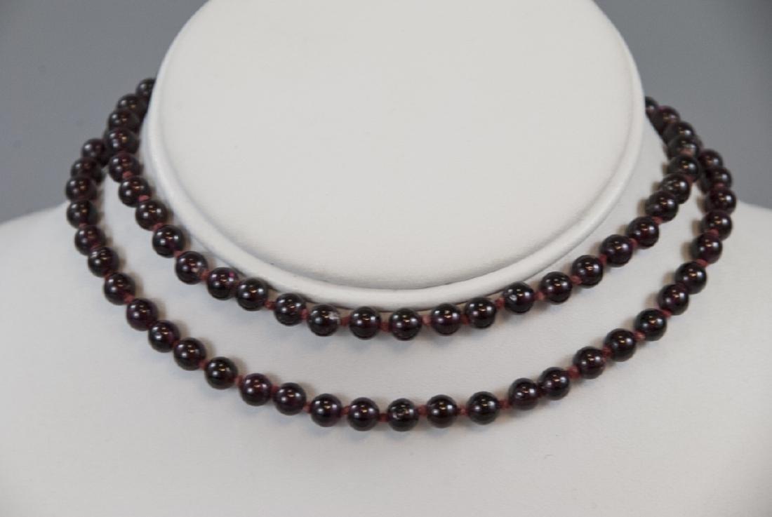Antique Carved Garnet Bead Necklace Strand