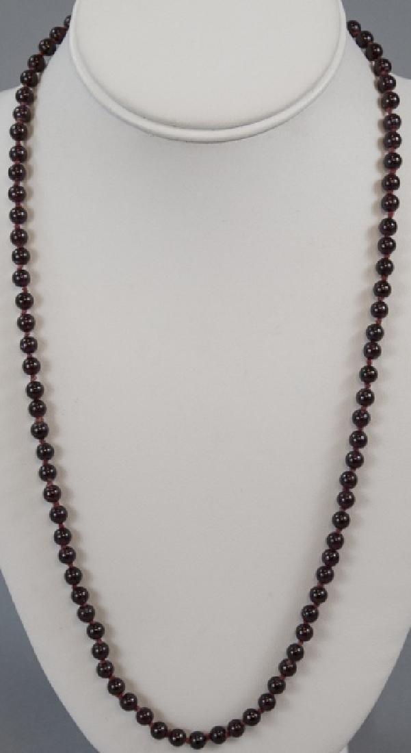 Antique Carved Garnet Bead Necklace Strand - 2