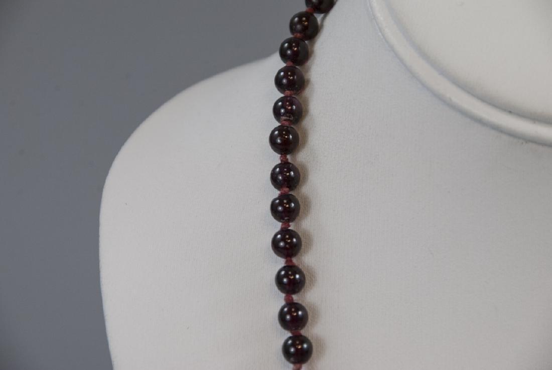 Antique Carved Garnet Bead Necklace Strand - 3