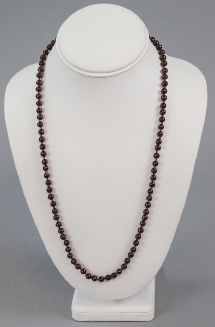 Antique Carved Garnet Bead Necklace Strand - 4