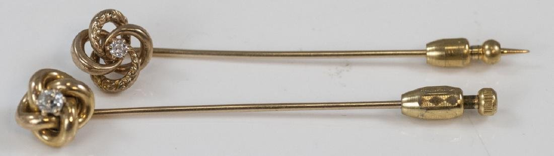 Two Antique Estate Yellow Gold Diamond Stick Pins
