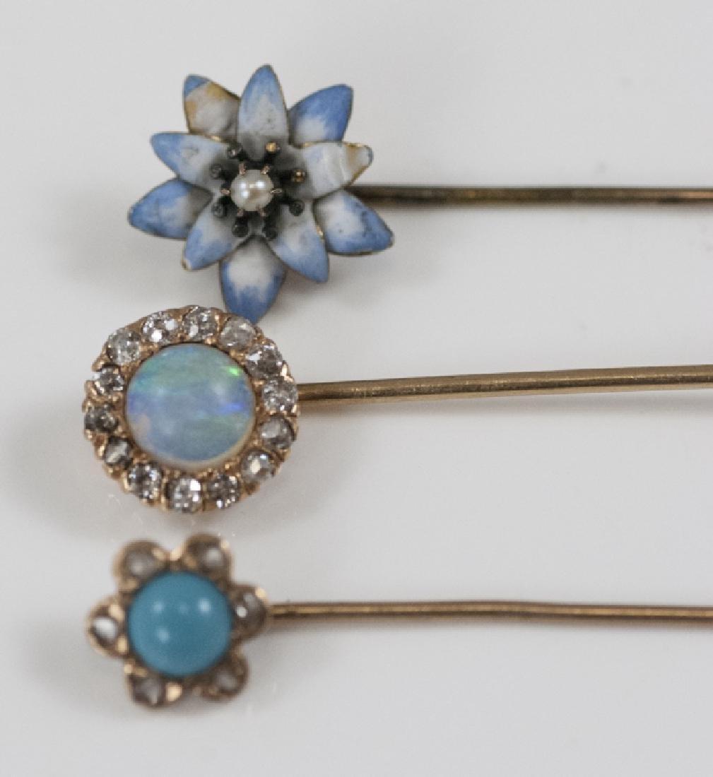 Antique Estate Gold Diamond Opal Enamel Pins - 2
