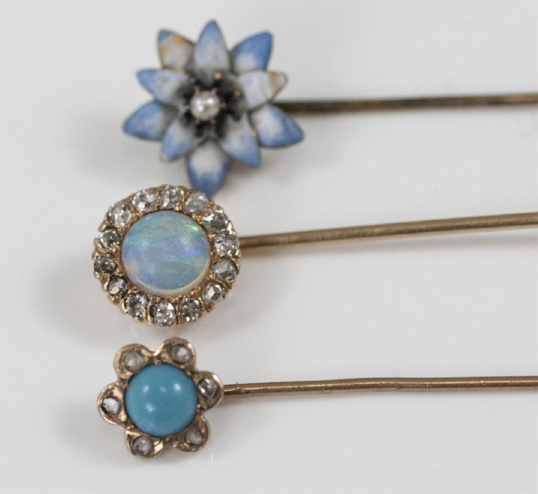Antique Estate Gold Diamond Opal Enamel Pins - 3