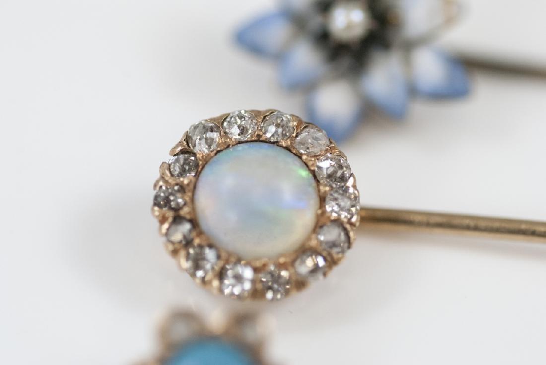 Antique Estate Gold Diamond Opal Enamel Pins - 5