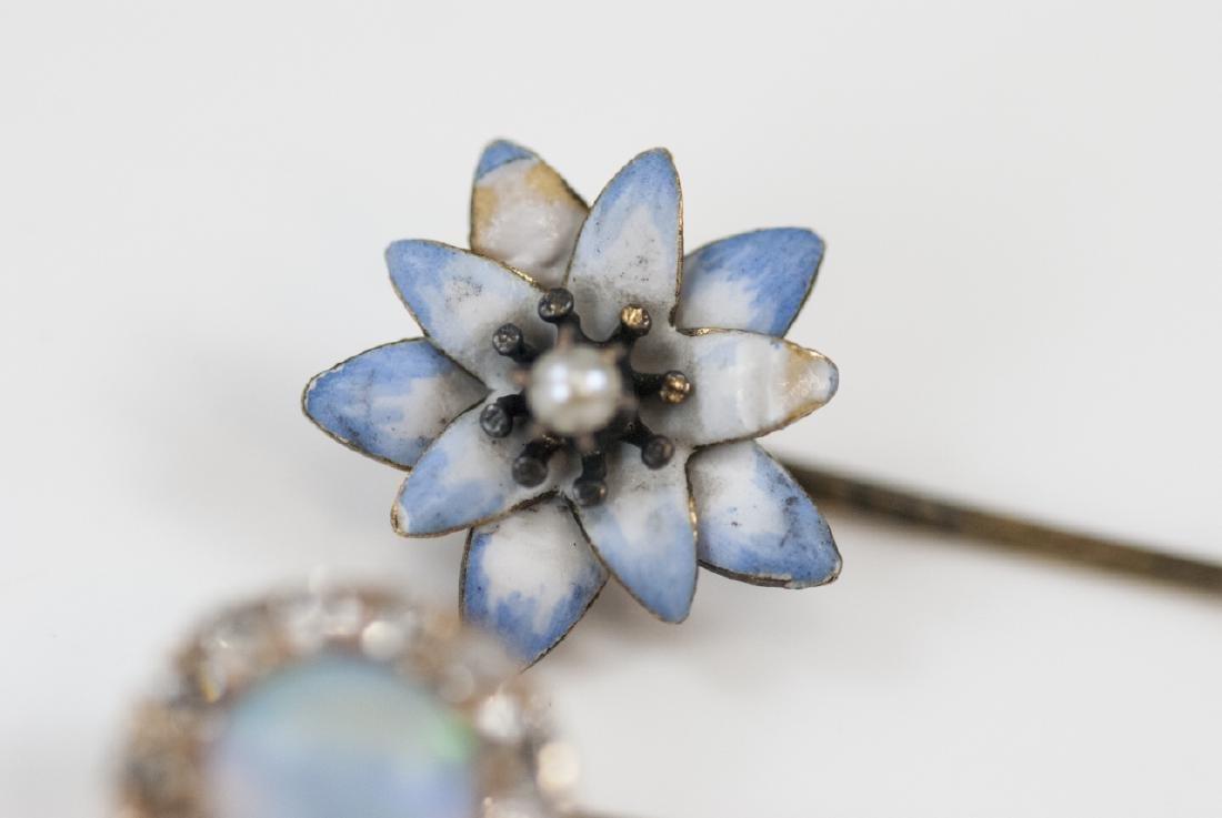 Antique Estate Gold Diamond Opal Enamel Pins - 6