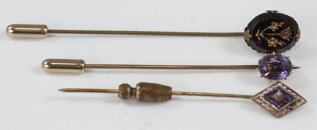 Three Antique Estate Gold & Amethyst Stick Pins