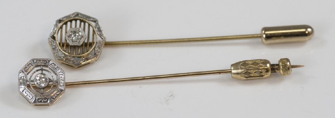 Two Antique Estate 14kt Gold & Diamond Stick Pins