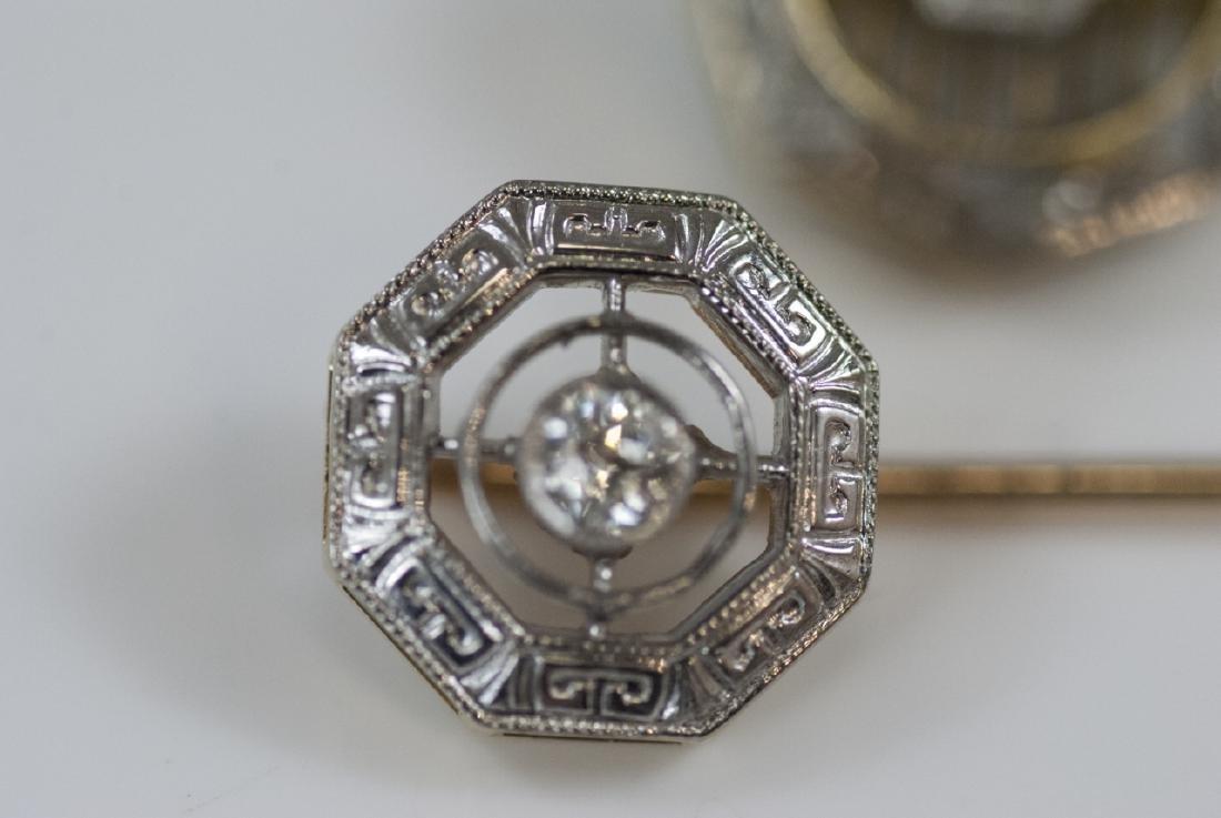 Two Antique Estate 14kt Gold & Diamond Stick Pins - 2