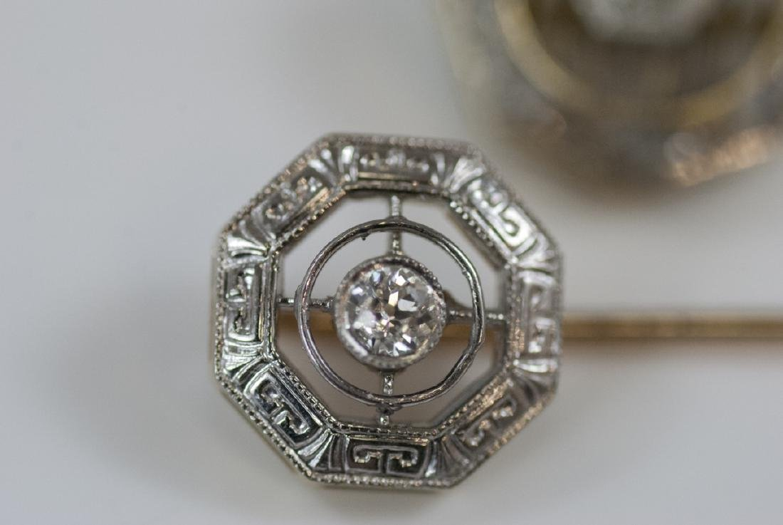 Two Antique Estate 14kt Gold & Diamond Stick Pins - 3