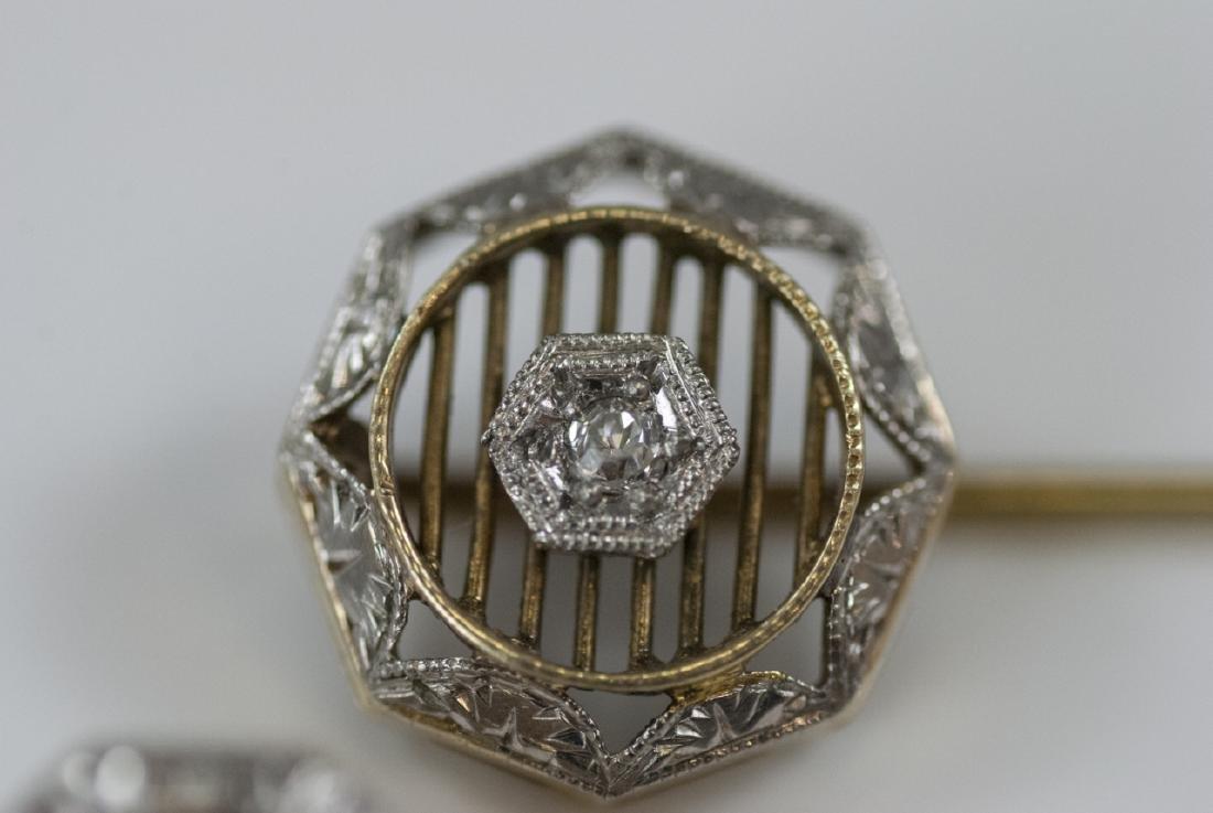 Two Antique Estate 14kt Gold & Diamond Stick Pins - 4