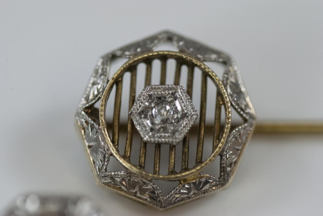 Two Antique Estate 14kt Gold & Diamond Stick Pins - 5