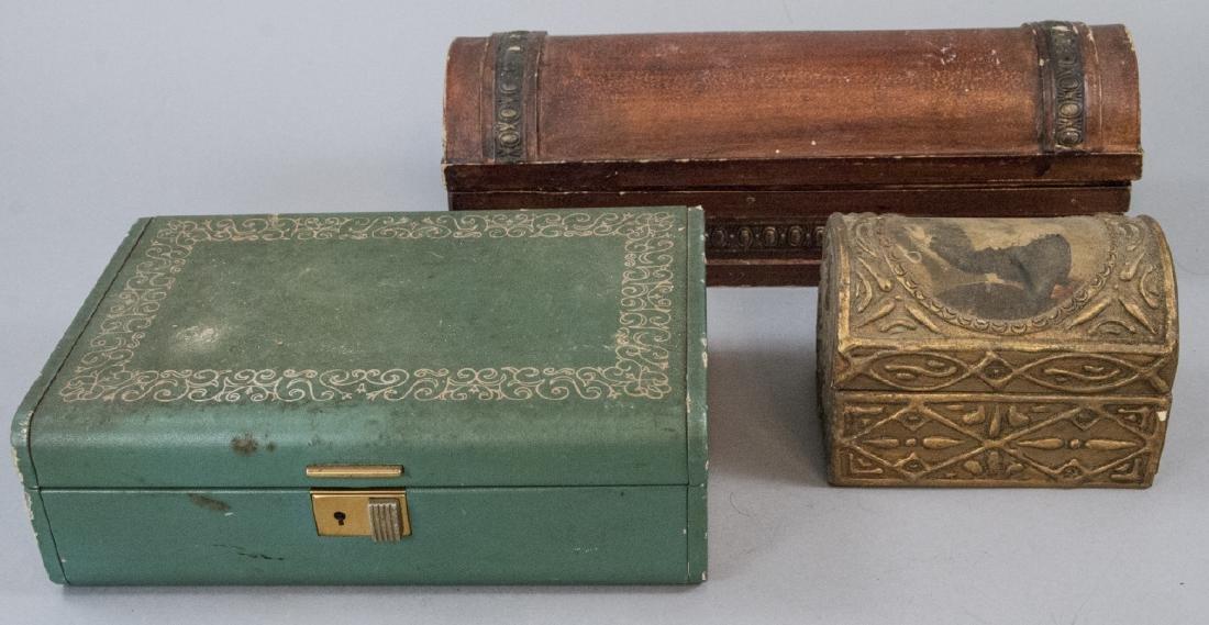 Three Antique / Vintage Ladies Jewelry Boxes