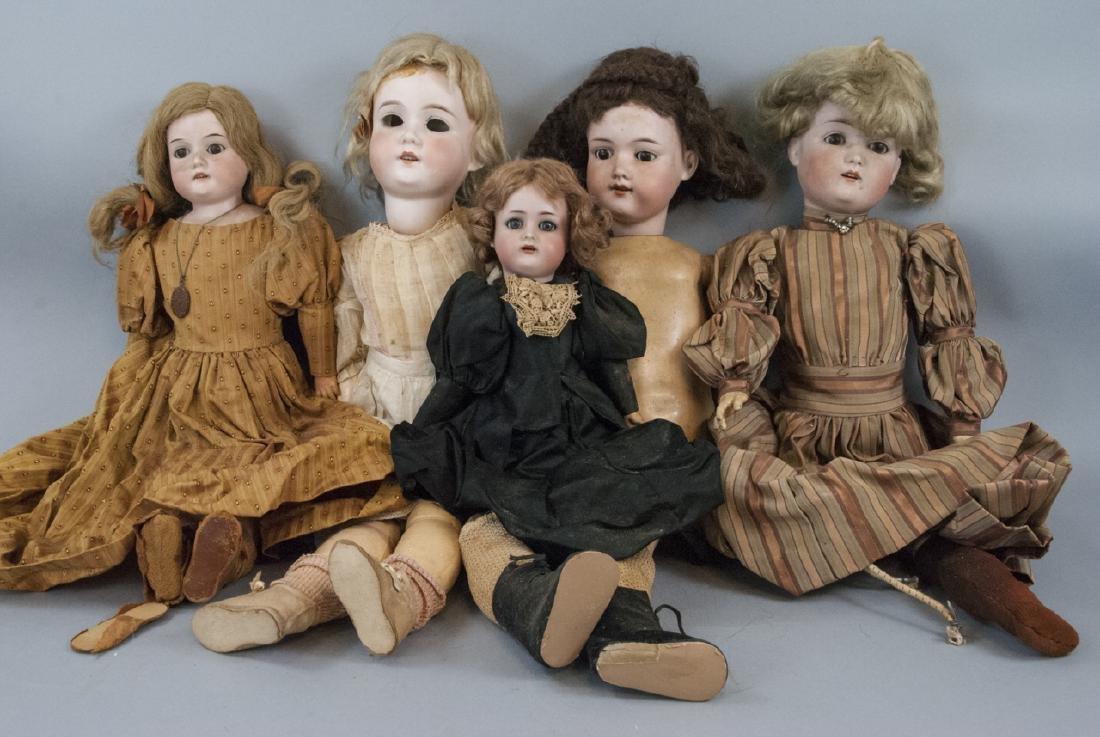 Five Antique German Bisque Head Dolls