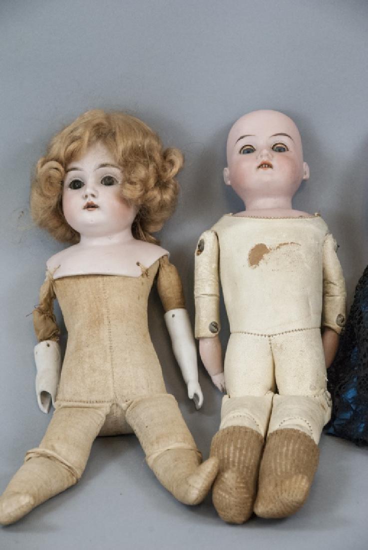 Three Antique German Bisque Head Dolls - 10