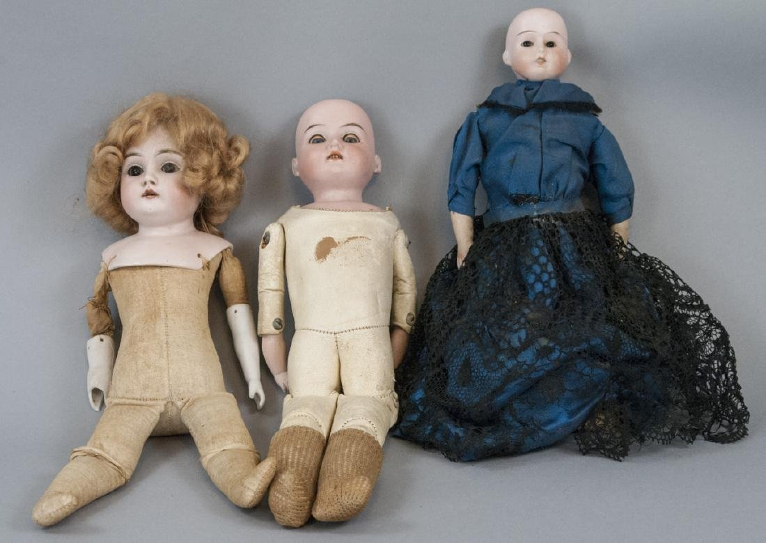 Three Antique German Bisque Head Dolls