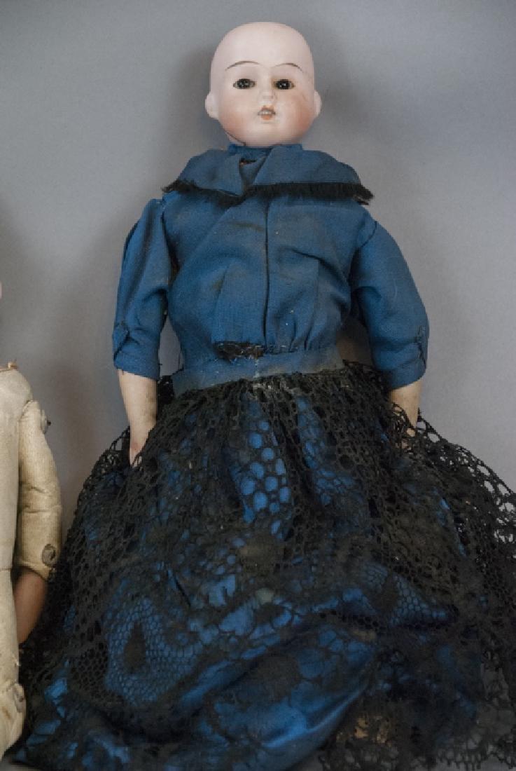 Three Antique German Bisque Head Dolls - 9